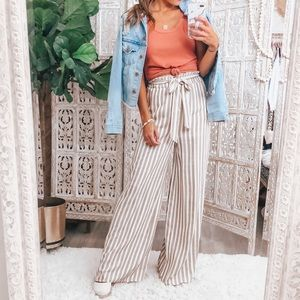 NWT tan and white striped linen pants